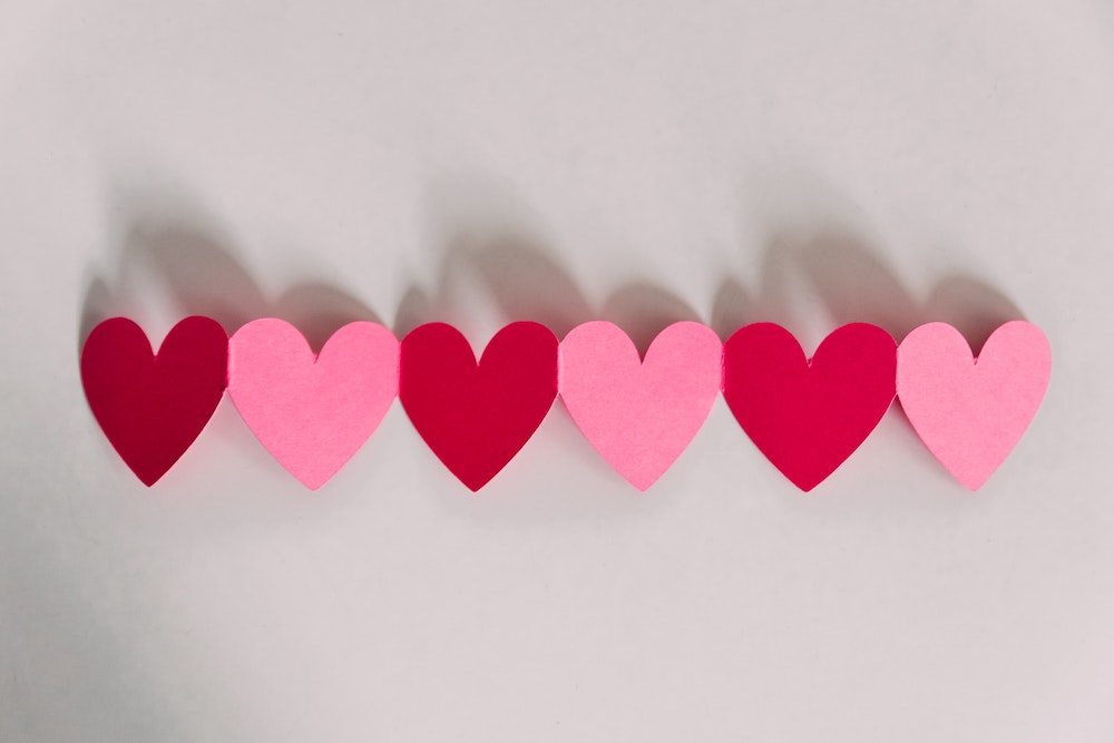 crafted paper hearts pink and red
