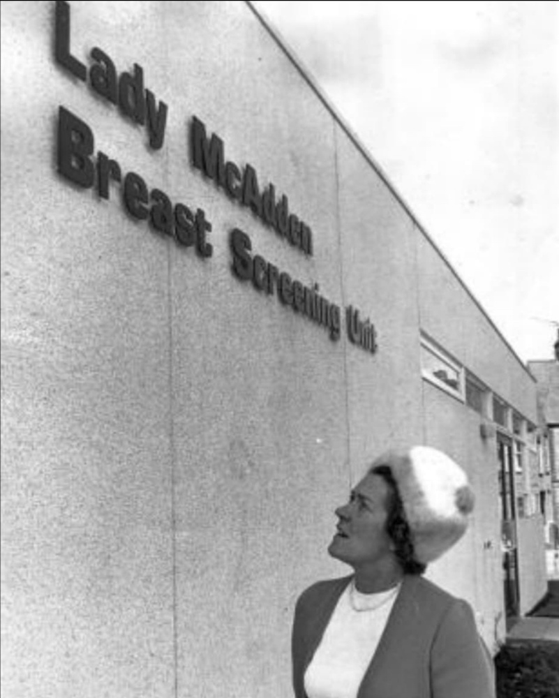 Lady McAdden outside the Breast Support unit