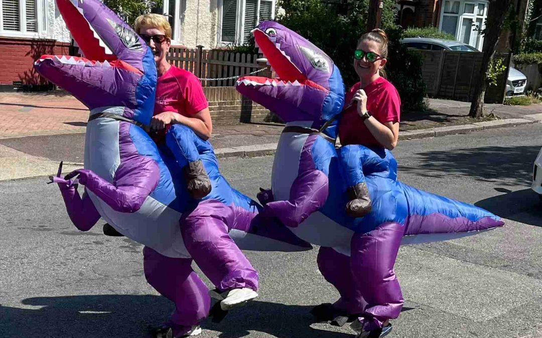 Dino-Dawn and Caroline-Asaurus